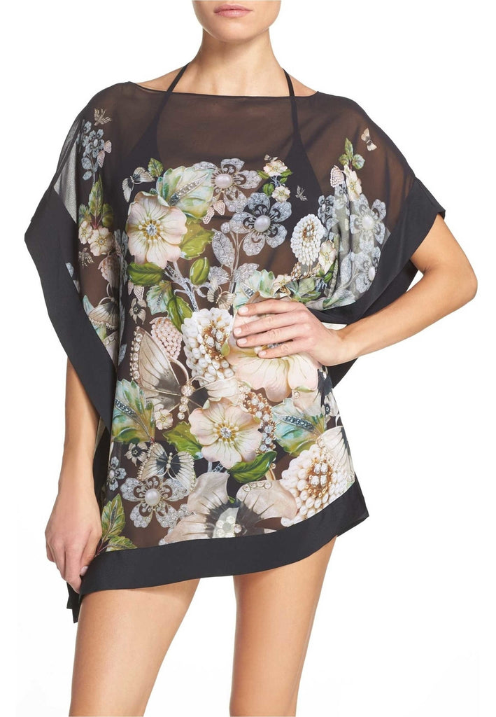 Black Gem Gardens Chiffon Cover-Up Dress