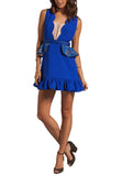 Royal Blue West End Lace Peplum Sheer Illusion Mini Dress