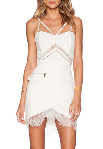 White Front Cross Lace With Ribbon Mini Dress