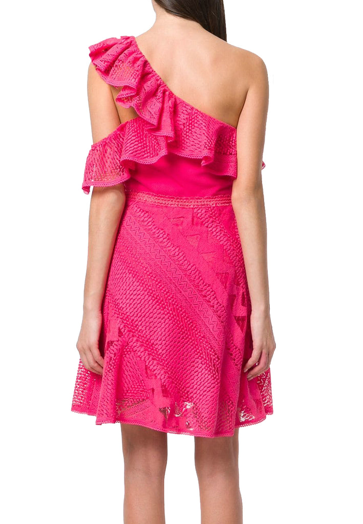 Fuchsia Forward Frills One Shoulder Ruffled Lace Dress