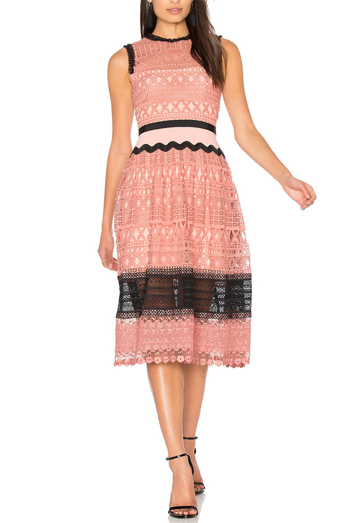 Pink Tea Rose Geometric Lace Midi Dress