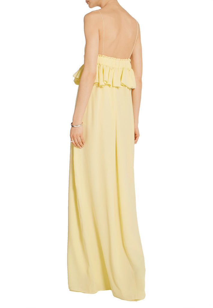 Yellow Silk Georgette Peplum Gown