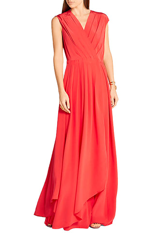 Red Floral Embroidered Tulle Midi Dress