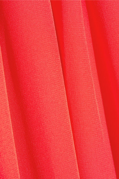 Red Pleated Silk Crepe de Chine Wrap Gown