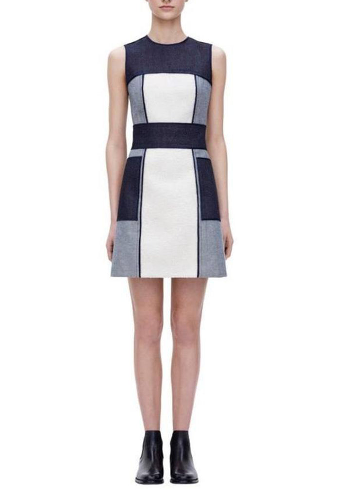 Blue Denim Borg Paneled Colorblock Mini Dress