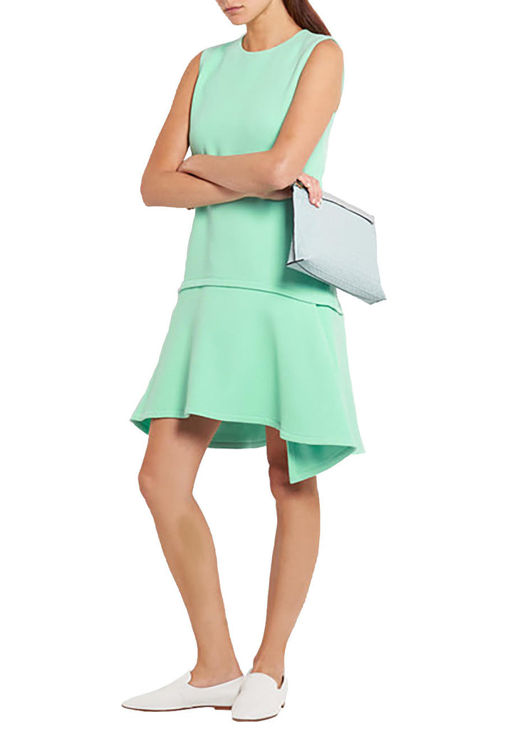 Mint Ruffle Hem Wool Crepe Dress