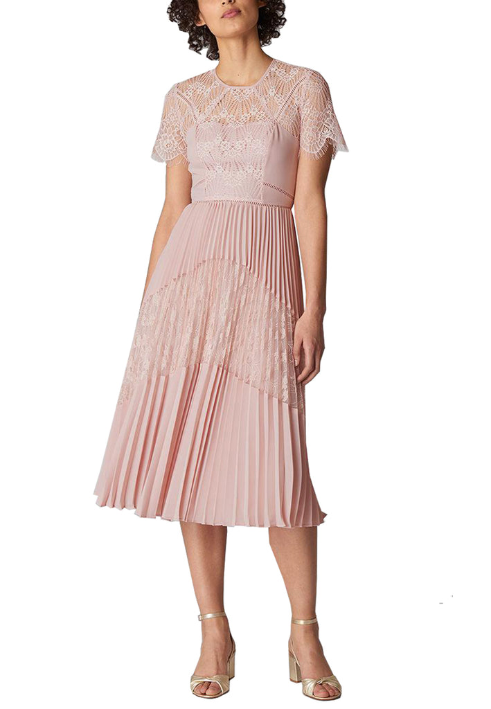 Blush Bianca Short Sleeves Lace Panel Dress