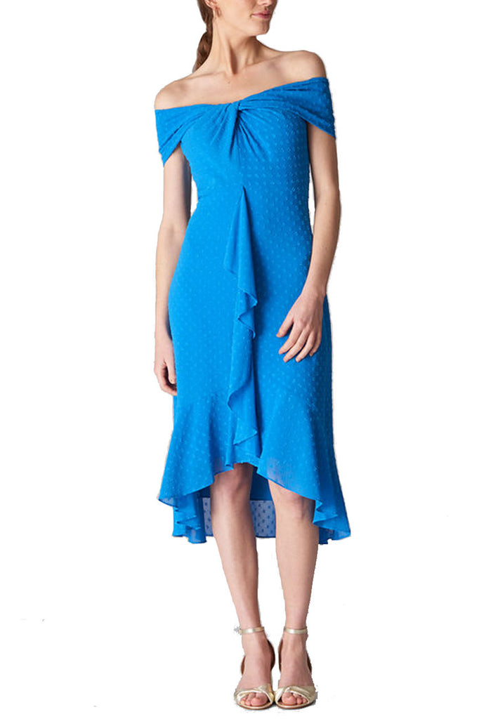 Blue Eriko Off The Shoulder Midi Dress