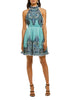 Teal Moncur Pleated Paisley Print Halter Neck Ruffled Mini Dress ­