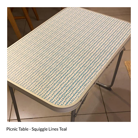 Picnic Table - Squiggle Lines Teal