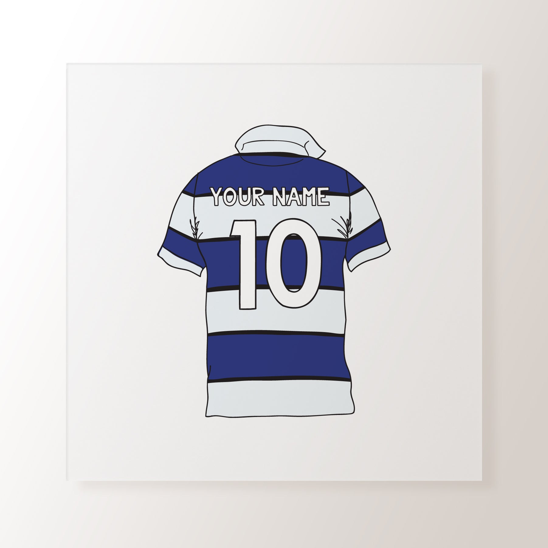 2619bb25172 Blue & White Striped Personalised Name Rugby Shirt - Art Print – Toffie