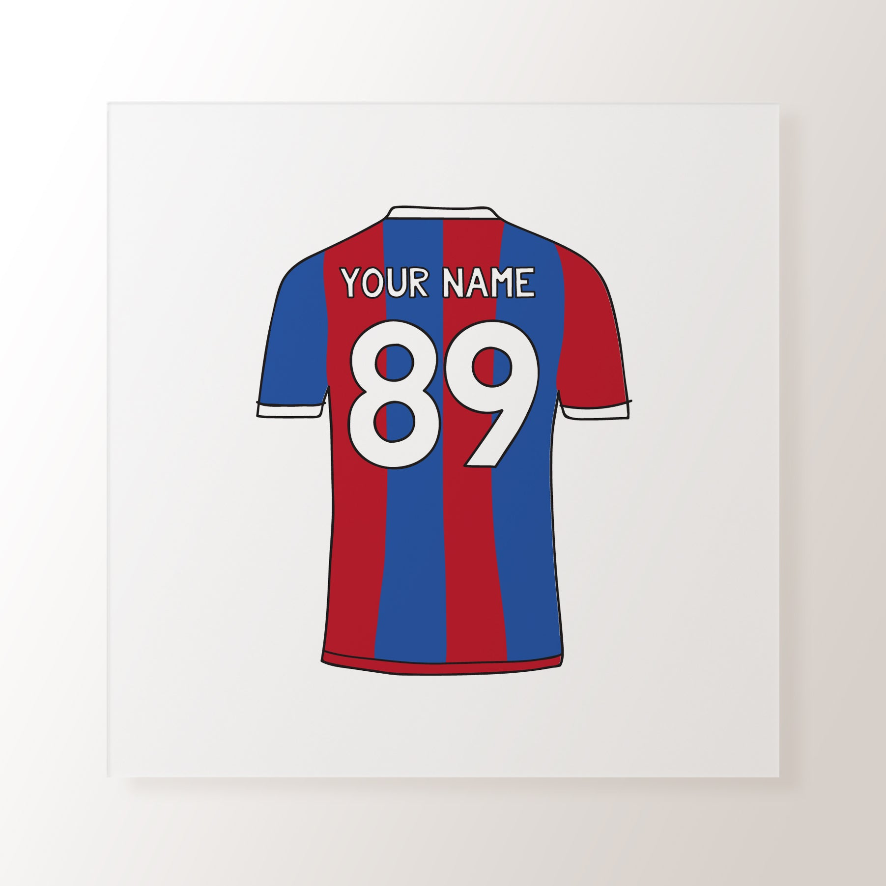 a4a4677d40d Red & Blue Striped Personalised Name Football Shirt - Art Print – Toffie