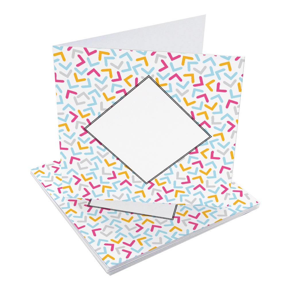 Chevron Sprinkles Small Blank Pre-Creased Cards with Recycled Kraft Envelopes