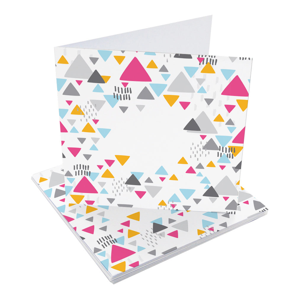 Confetti Triangles Large Blank Pre-Creased Cards with Recycled Kraft Envelopes