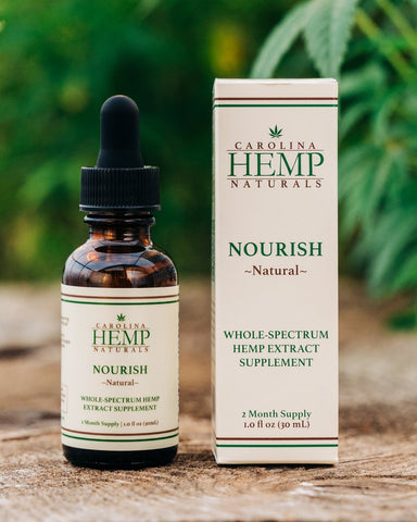 Packaging and dropper bottle - Carolina Hemp Naturals Nourish Sublingual Oil