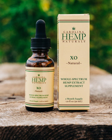 Packaging and dropper bottle - Carolina Hemp Naturals XO Sublingual Oil