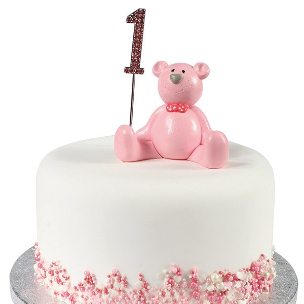 Diamante Cake Topper- Pink Number 1