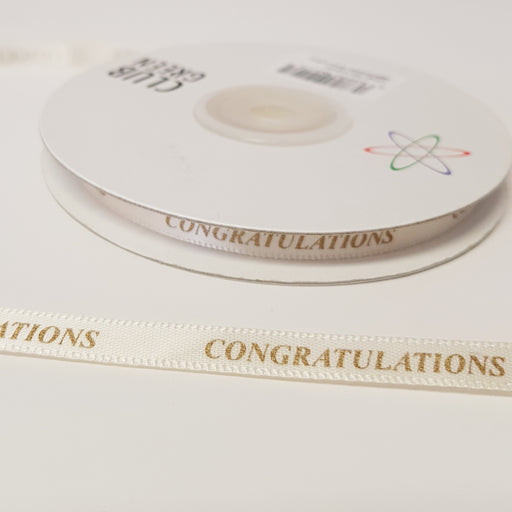 Congratulations Ribbon 6mm Ivory/Gold