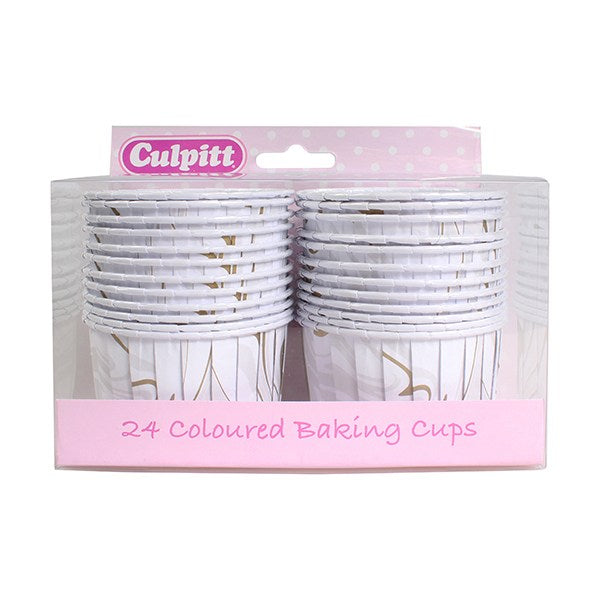 Baking Cups - Gold and Silver Marble