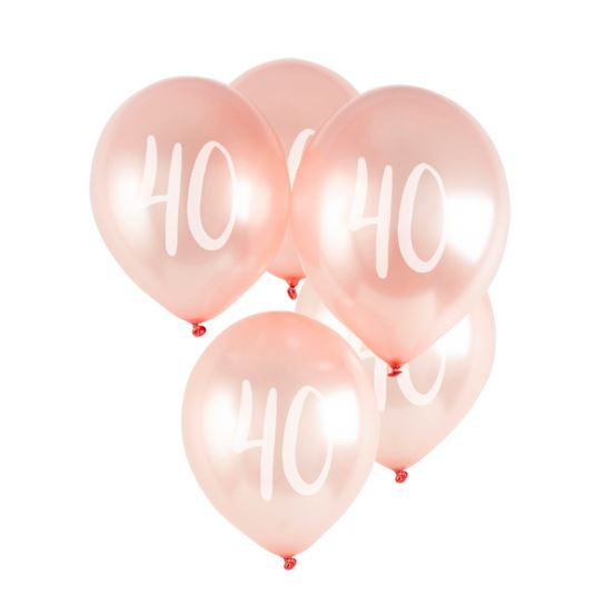 Milestone Balloons - 40th (pack of 5)