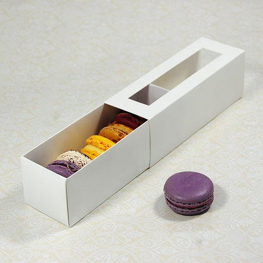 6 White Window Macaron Boxes (Pack of 10)