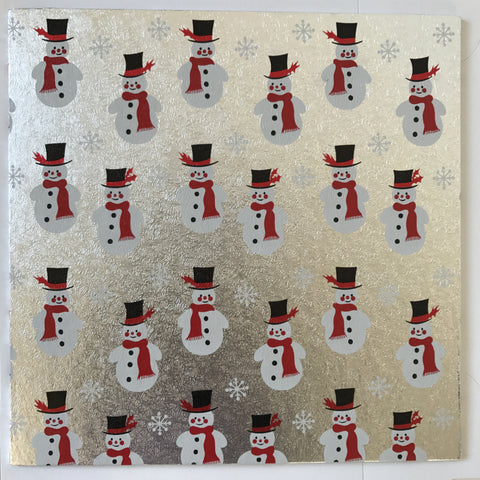 10'' (25cm) Silver Snowman Double Thick Square Cake Card