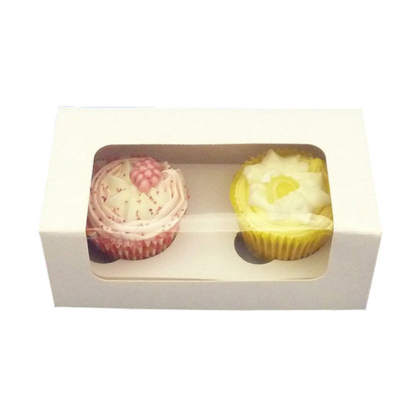 White 2 Cavity Cupcake Box
