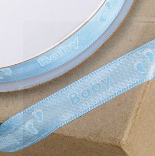 Blue Baby and Footprint Ribbon - 12mm