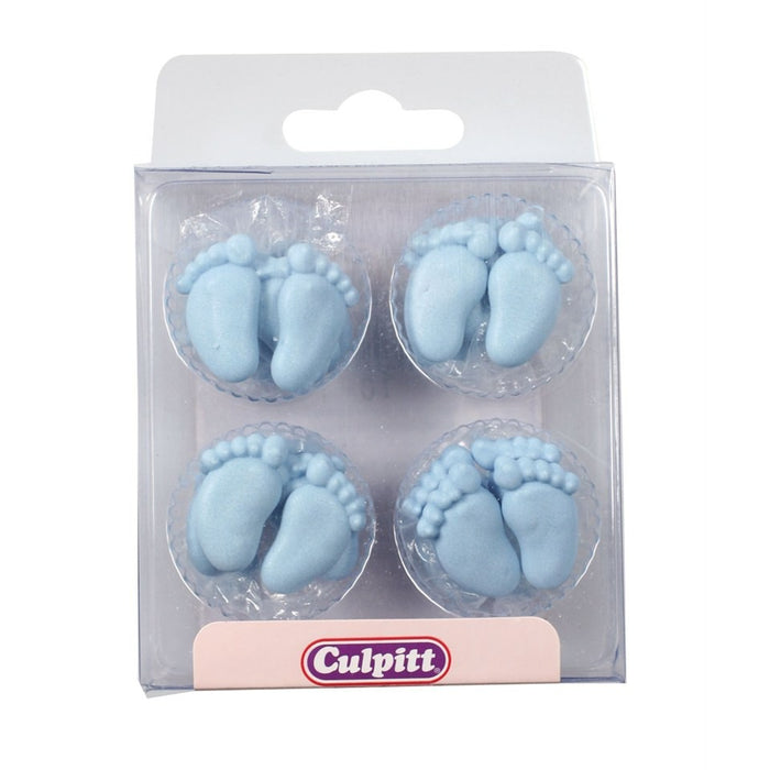 Blue Pairs of Feet Sugar Decorations