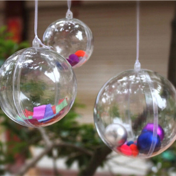 Clear Plastic 2 part  Baubles 7cm (Pack of 10)