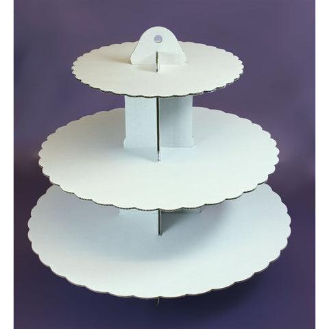 3 Tier White Cupcake Stand