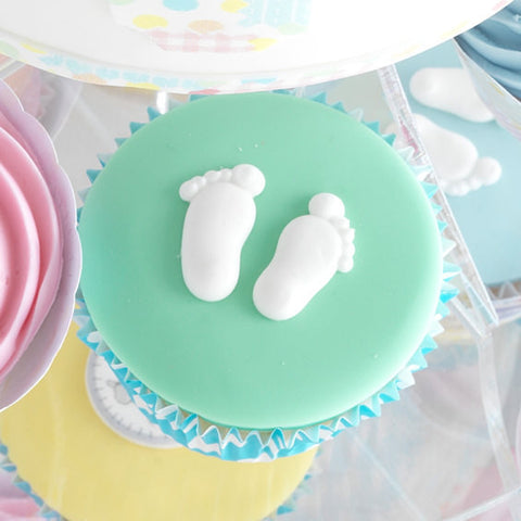 White Pairs of Feet Sugar Decorations