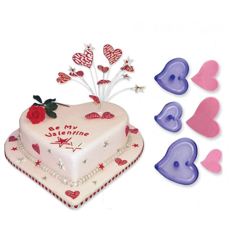 JEM Set of 3 Funky Heart Cutters