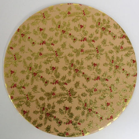 10'' (25cm) Gold Holly Christmas Double Thick Round Cake Card