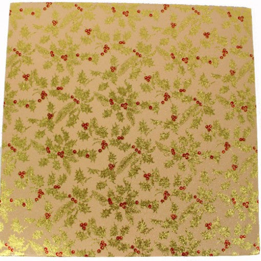 10'' Square Cake Card - Beige with Gold Holly