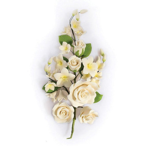 Gum Paste Rose Spray - Ivory