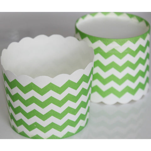 Green and White Chevron Stand Up Cupcake Case (Pack of 24)