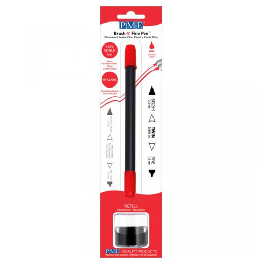 PME Brush n Fine Edible Ink Pen- RED