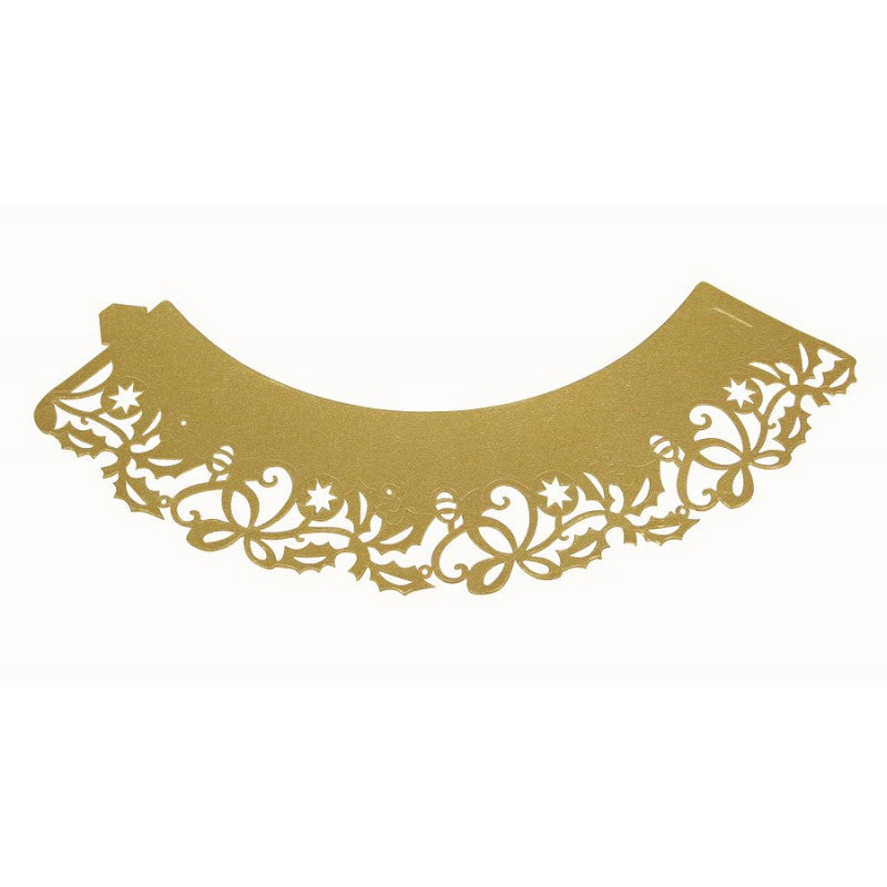 Pme decorative lace cupcake wrappers gold holly the for Giant cupcake liner template