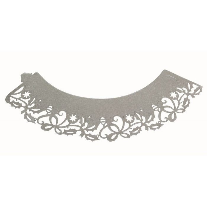 PME Decorative Lace Cupcake Wrappers- Silver Holly
