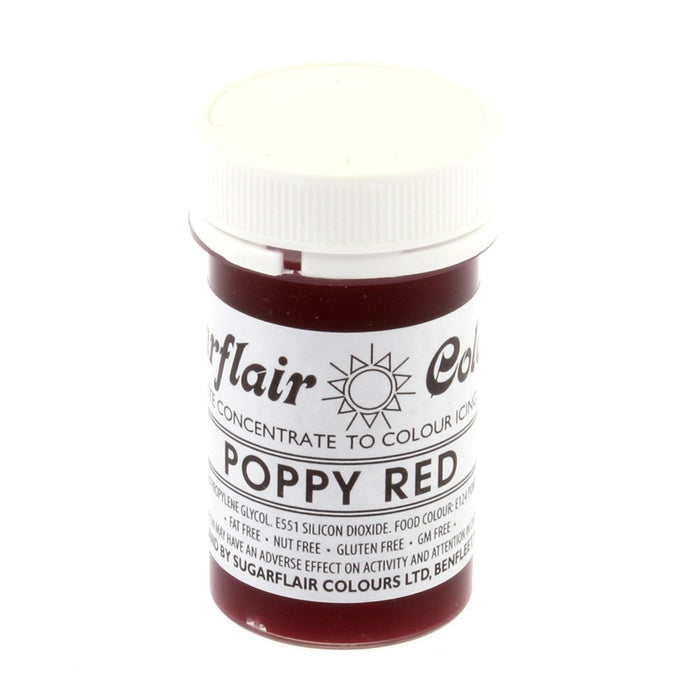 Sugarflair Paste Colours - Poppy Red- 25g
