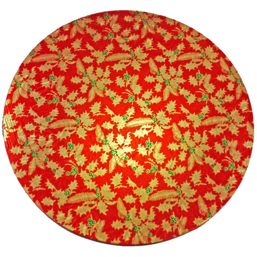 8'' Round Cake Card - Red & Gold Holly