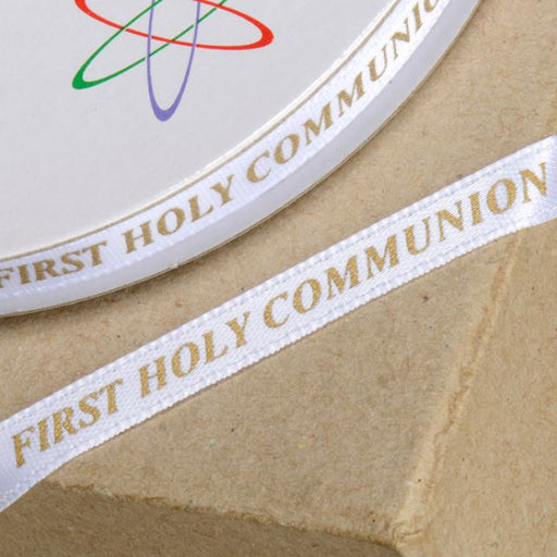 First Holy Communion Ribbon- 6mm White/ Gold