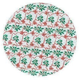 10'' Round Cake Card - Silver with Holly & Bows