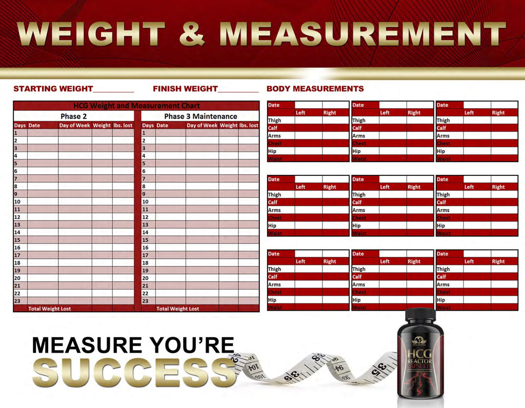 HCG Reactor Weights and Measurements Chart