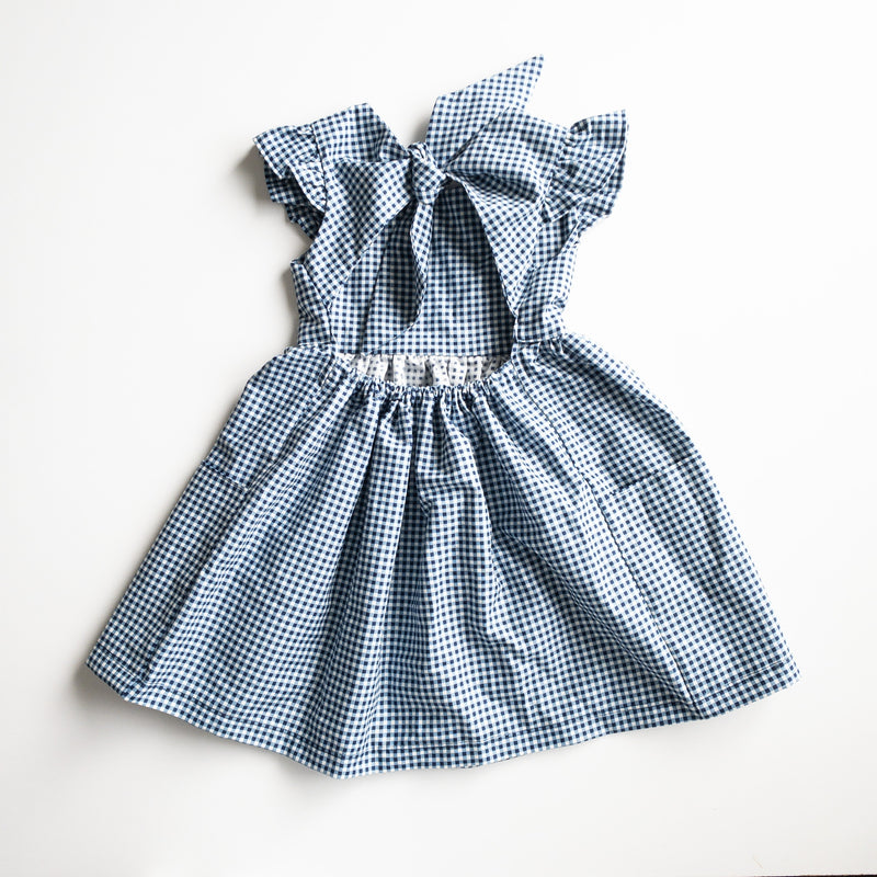 Penny Dress with Market Pockets in 'Navy Gingham' - Ready To Ship