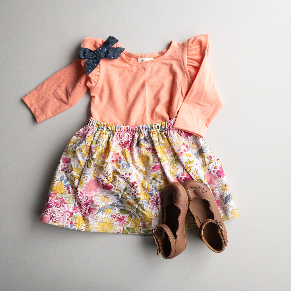 Millie Flutter Shirt in 'Papaya' - Ready To Ship