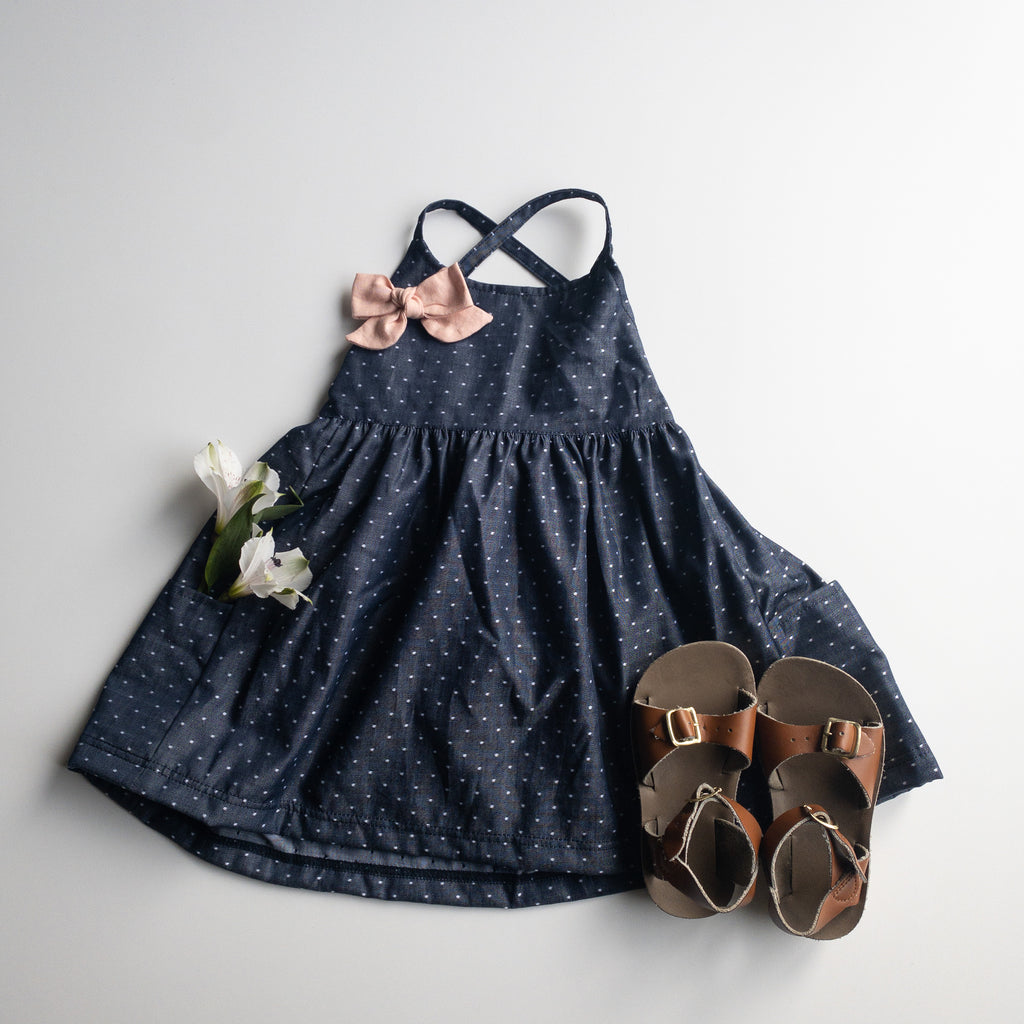 Freya Dress with Market Pockets in 'Dotty Chambray' - Ready To Ship