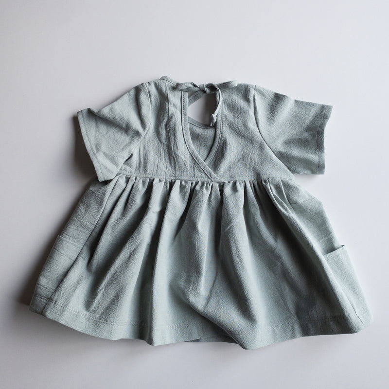 Nora Short-Sleeved Tunic with  Pockets in 'Seaglass Organic Cotton Crepe ' - Ready To Ship