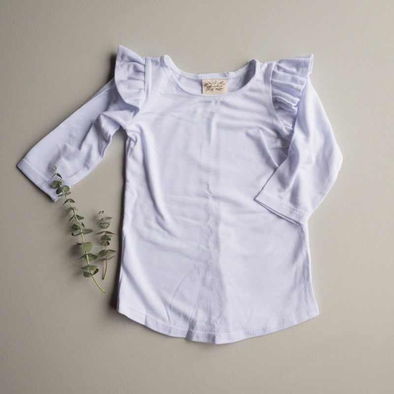 Millie Flutter Shirt in 'Cloud' - Ready To Ship